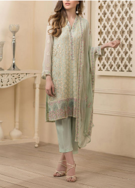 Dhanak Embroidered Chiffon Unstitched 3 Piece Suit DK20LC DU-0021 LIGHT GREEN - Luxury Collection