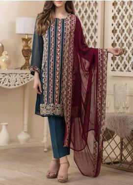 Dhanak Embroidered Chiffon Unstitched 3 Piece Suit DK20LC DU-0022 BLUE - Luxury Collection