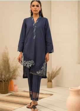 Dhanak Embroidered Khaddar Stitched 2 Piece Suit DC-0293 Blue
