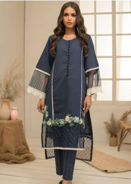 Dhanak Embroidered Khaddar Stitched 2 Piece Suit DC-0297 Blue