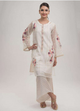 Dhanak Embroidered  Stitched Kurtis DA-0696 Off White