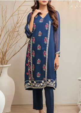 Dhanak Embroidered Chiffon Stitched Kurti DA-1300