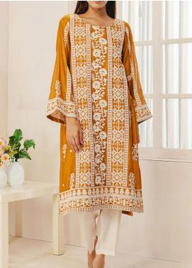Dhanak Embroidered Cotton Net Stitched Kurti DA-1329