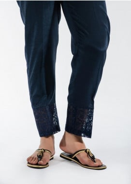 Dhanak Embroidered Cotton Net Stitched Trousers Blue DT-9002