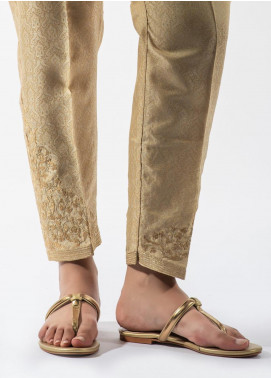 Dhanak Embroidered Cotton Net Stitched Trousers DT-0969 Beige
