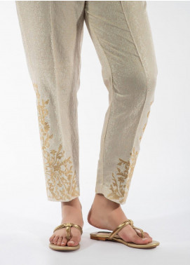 Dhanak Embroidered Cotton Net Stitched Trousers Off White DT-0923