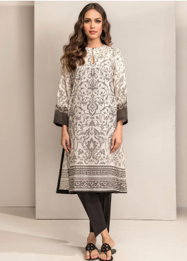 Dhanak Printed Lawn Unstitched Kurties DK20BW DU-1042 WHITE - Black & White Collection