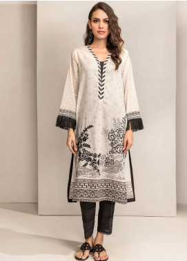 Dhanak Embroidered Lawn Unstitched Kurties DK20BW DU-1043 WHITE - Black & White Collection