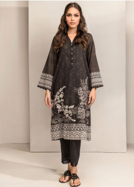 Dhanak Embroidered Lawn Unstitched Kurties DK20BW DU-1044 BLACK - Black & White Collection