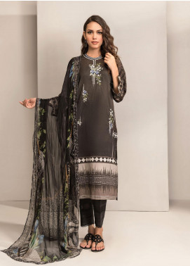 Dhanak Embroidered Lawn Unstitched 2 Piece Suit DK20BW DU-2046 BLACK - Black & White Collection