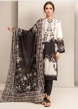Dhanak Printed Lawn Unstitched 2 Piece Suit DK20BW DU-2047 WHITE - Black & White Collection