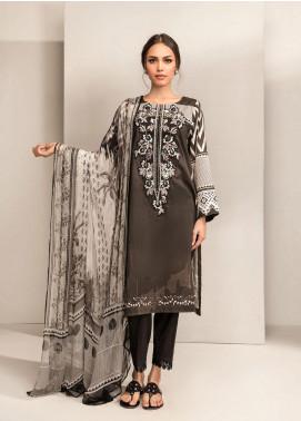 Dhanak Embroidered Lawn Unstitched 3 Piece Suit DK20BW DU-3048 BLACK - Black & White Collection