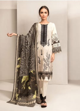 Dhanak Embroidered Lawn Unstitched 3 Piece Suit DK20BW DU-3049 OFF WHITE - Black & White Collection