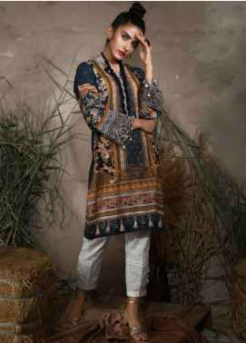 Dhanak Printed Khaddar Unstitched Kurties DU-1045 BLUE - Winter Collection