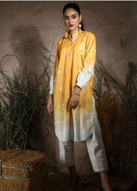 Dhanak Printed Khaddar Unstitched Kurties DU-1047 YELLOW - Winter Collection