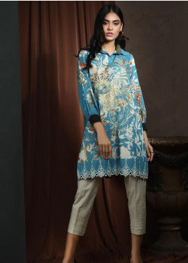 Dhanak Printed Khaddar Unstitched Kurties DU-1048 BLUE - Winter Collection