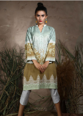 Dhanak Printed Khaddar Unstitched Kurties DU-1049 GREEN - Winter Collection