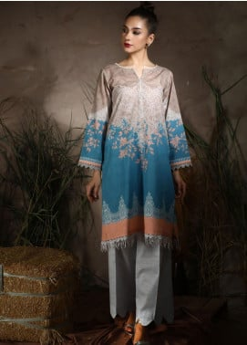 Dhanak Printed Khaddar Unstitched Kurties DU-1050 blue - Winter Collection