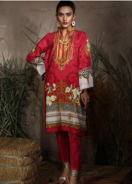 Dhanak Printed Khaddar Unstitched Kurties DU-1053 PINK - Winter Collection