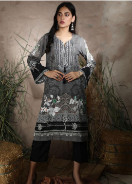 Dhanak Printed Khaddar Unstitched Kurties DU-1054 GREY - Winter Collection