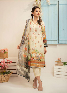 Dhanak Printed Lawn Unstitched 2 Piece Suit DK20L DU2034 - Summer Collection