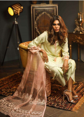 Dhanak Embroidered  Stitched 3 Piece Suit DK18K DL-0011
