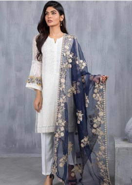 Dhanak Embroidered Organza  Dupatta DD-0756 Blue - Luxury Collection