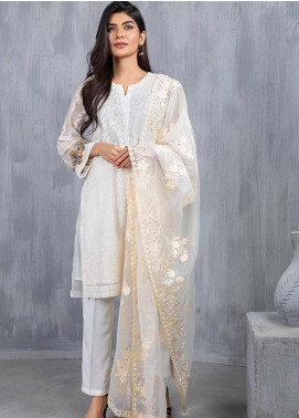Dhanak Embroidered Organza  Dupatta DD-0756 Off White - Luxury Collection