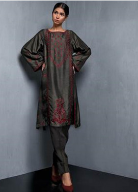 Kuli Jume Embroidered Raw Silk Stitched 2 Piece Suit Dusky Dorkwood