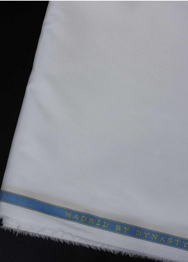 Dynasty Plain Egyptian Cotton Unstitched Fabric Madrid Off White - Summer Collection