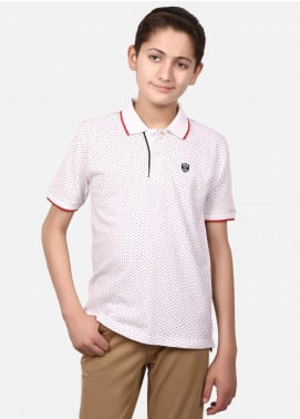 Edenrobe Cotton Polo Boys Shirts - White EBTPS19-013