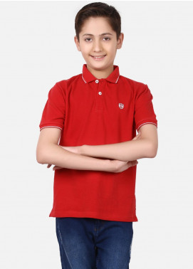 Edenrobe Cotton Polo Shirts for Boys - Red EBTPS19-020