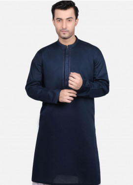 Edenrobe Cotton Formal Men Kurtas - Navy Blue EMTK19S-9671