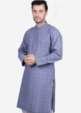 Edenrobe Cotton Formal Kurtas for Men - Blue EMTK19S-9686