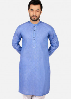 Edenrobe Cotton Formal Men Kurtas - Blue EMTK19S-9760