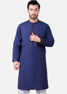 Edenrobe Cotton Formal Kurtas for Men - Navy Blue EMTK19S-9761