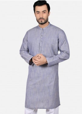 Edenrobe Cotton Formal Men Kurtas - Blue EMTK19S-9787