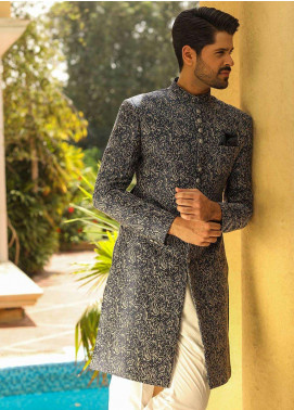 Edenrobe Cotton Wedding Sherwanis for Men - Navy Blue 007181