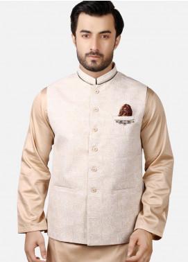Edenrobe Jacquard Formal Waistcoats for Men - Fawn EMTWCC18-045