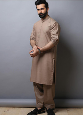 Edenrobe Wash N Wear Formal Kameez Shalwar for Men - Brown EMTKS19-014