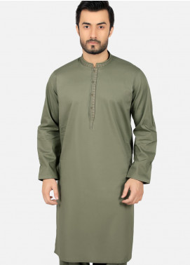 Edenrobe Wash N Wear Formal Kameez Shalwar for Men - Green EMTKS19S-40748