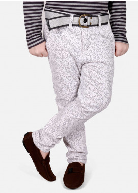 Edenrobe Cotton Plain Texture Pants for Boys - White EDK18P 5714
