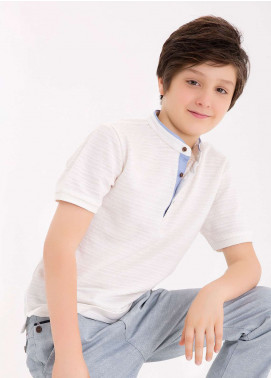 Edenrobe Cotton Polo T-Shirts for Boys - White EDK18PS 003