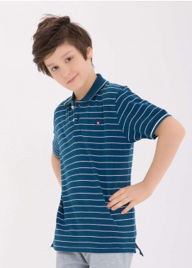 Edenrobe Cotton Polo Boys Shirts - Blue EDK18PS 013