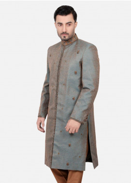 Edenrobe Jamawar Embroidered Sherwanis for Men - Silver EDM18SH 7130