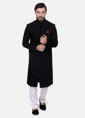 Edenrobe Suiting Plain Texture Men Sherwanis - Black EDM18SH 7152