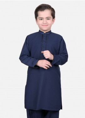Edenrobe Cotton Embroidered Boys Kameez Shalwar - Navy Blue EDS18B 3493