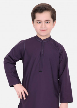 Edenrobe Cotton Fancy Boys Kameez Shalwar - Purple EDS18B 3497