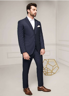Edenrobe Cotton Formal Men Suits - Navy Blue EDM18FS 8081