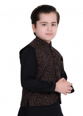 Edenrobe Cotton Fancy Boys Waistcoat Suits - Black EDW18B 010